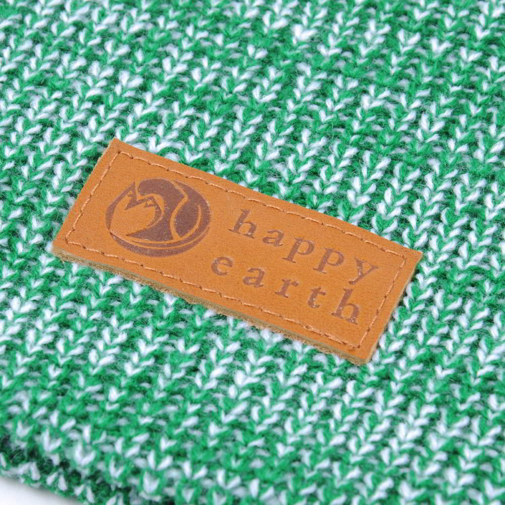 plain leather logo slouchy green winter beanies