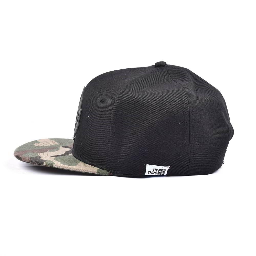 rubber patch camo brim black snapback hats