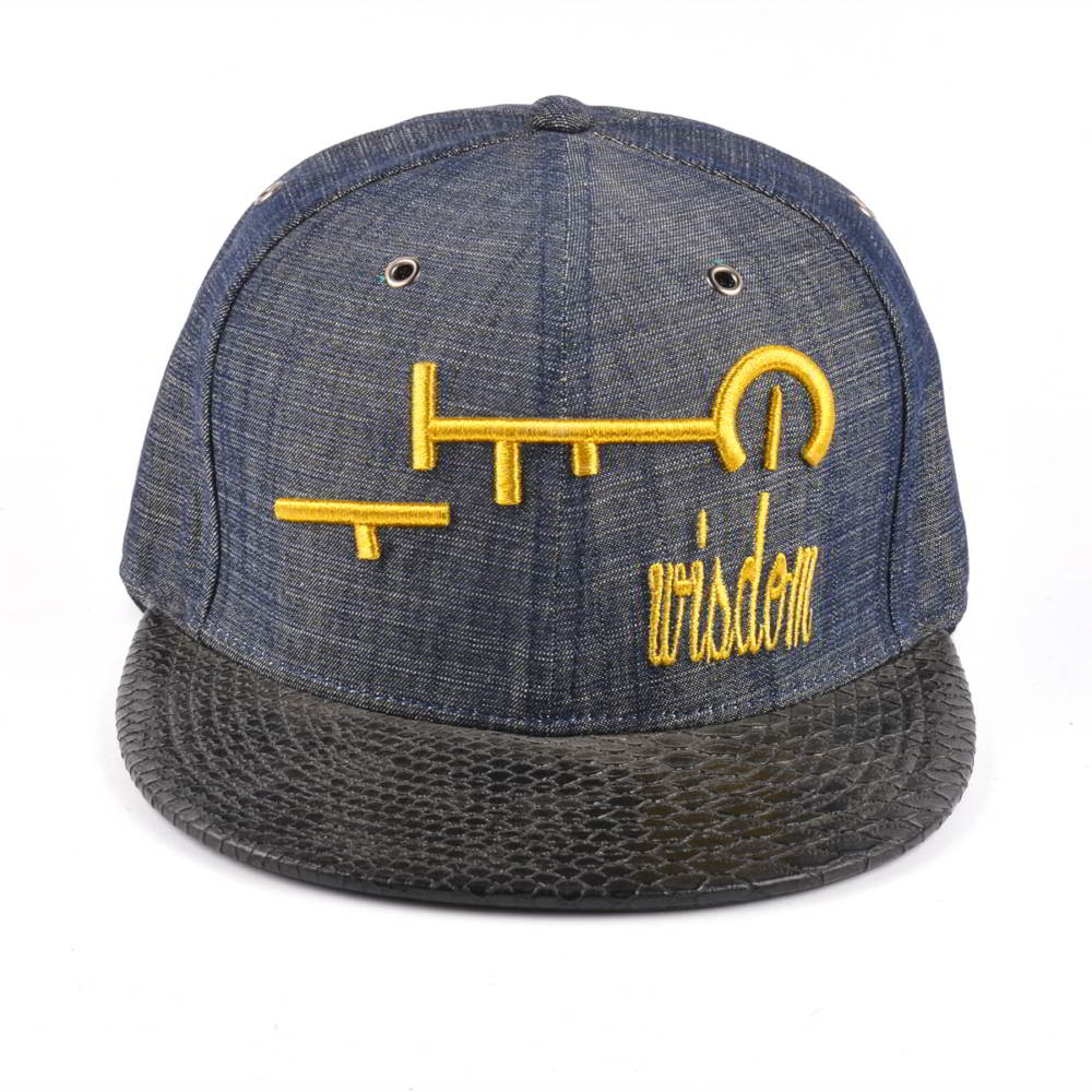 snakeskin leather brim 3d embroidery denim snapback hats