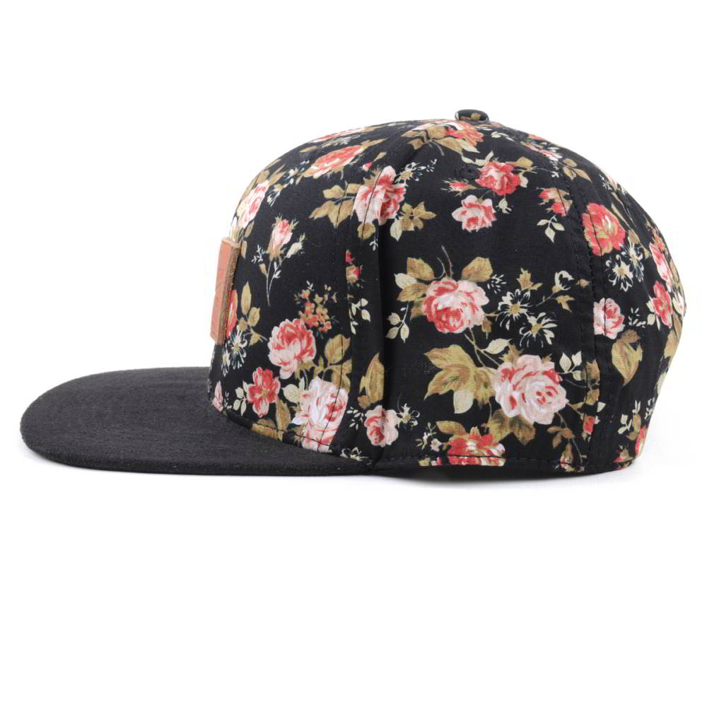 leather patch flower printing snapback hats