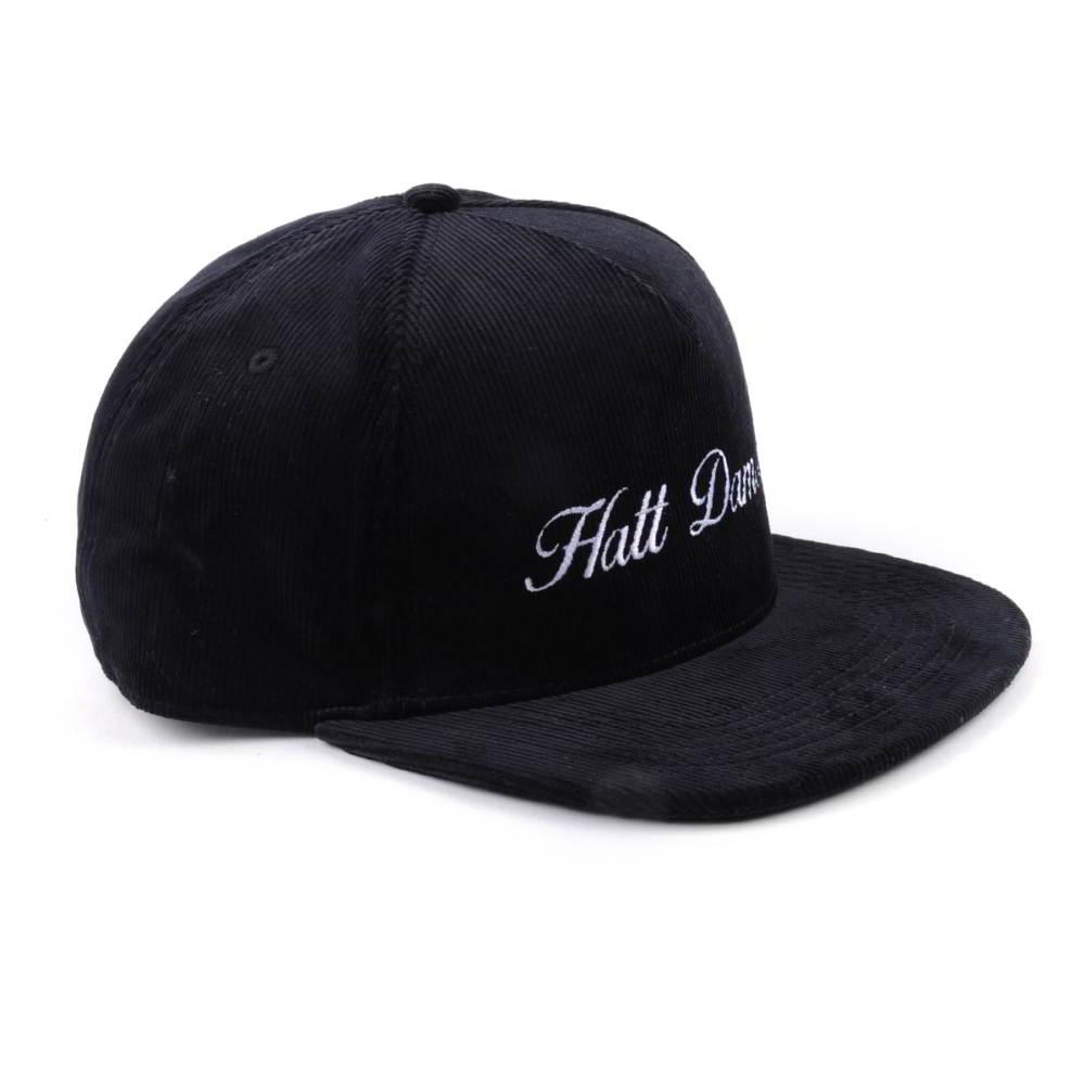plain flat embroidery black corduroy snapback hats
