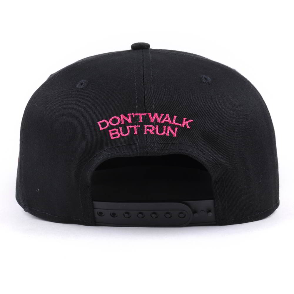 puff embroidery black flat brim black snapback caps