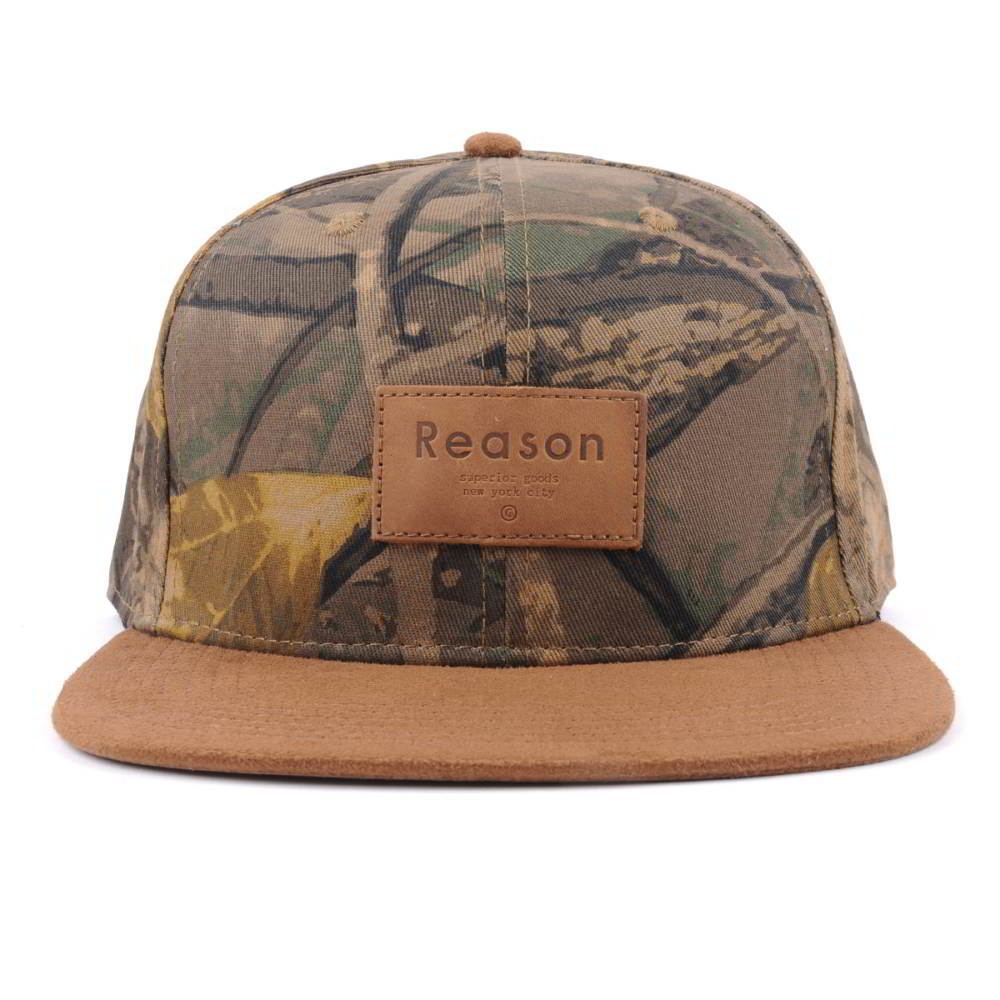suede brim leather plate printing snapback caps