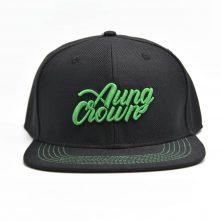 aungcrown embroidery logo black snapback caps custom