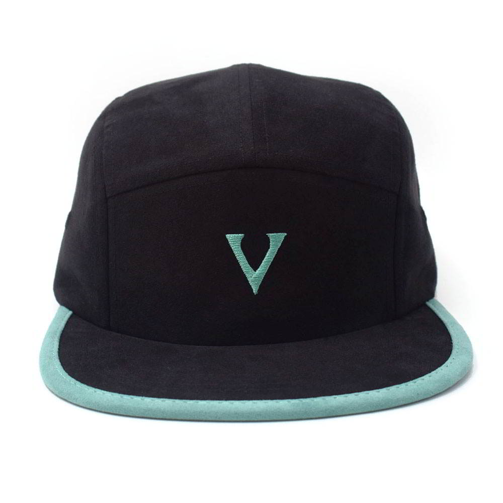 embroidery letters logo black suede 5 panels hats