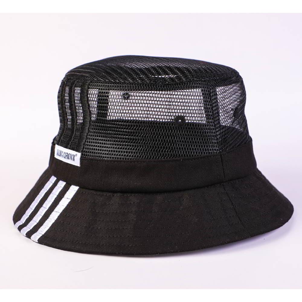 aungcrown logo summer black mesh bucket hats