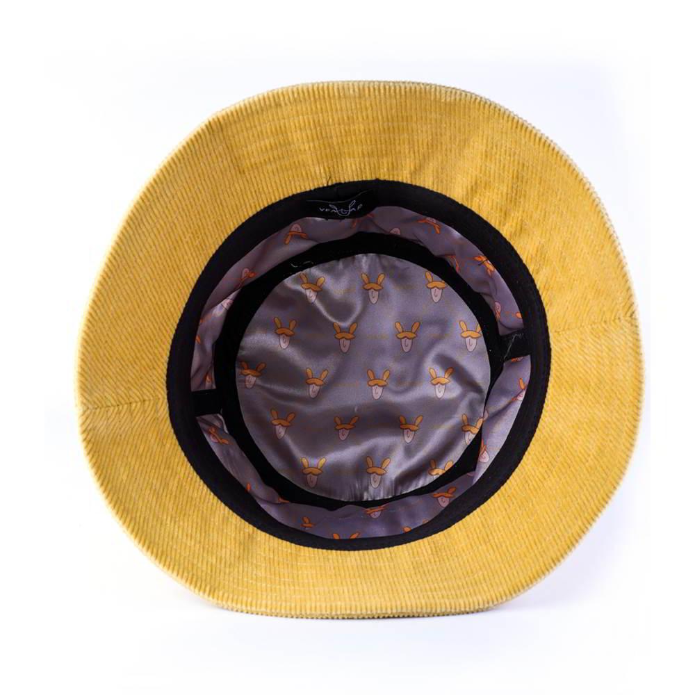 plain logo yellow corduroy bucket hats