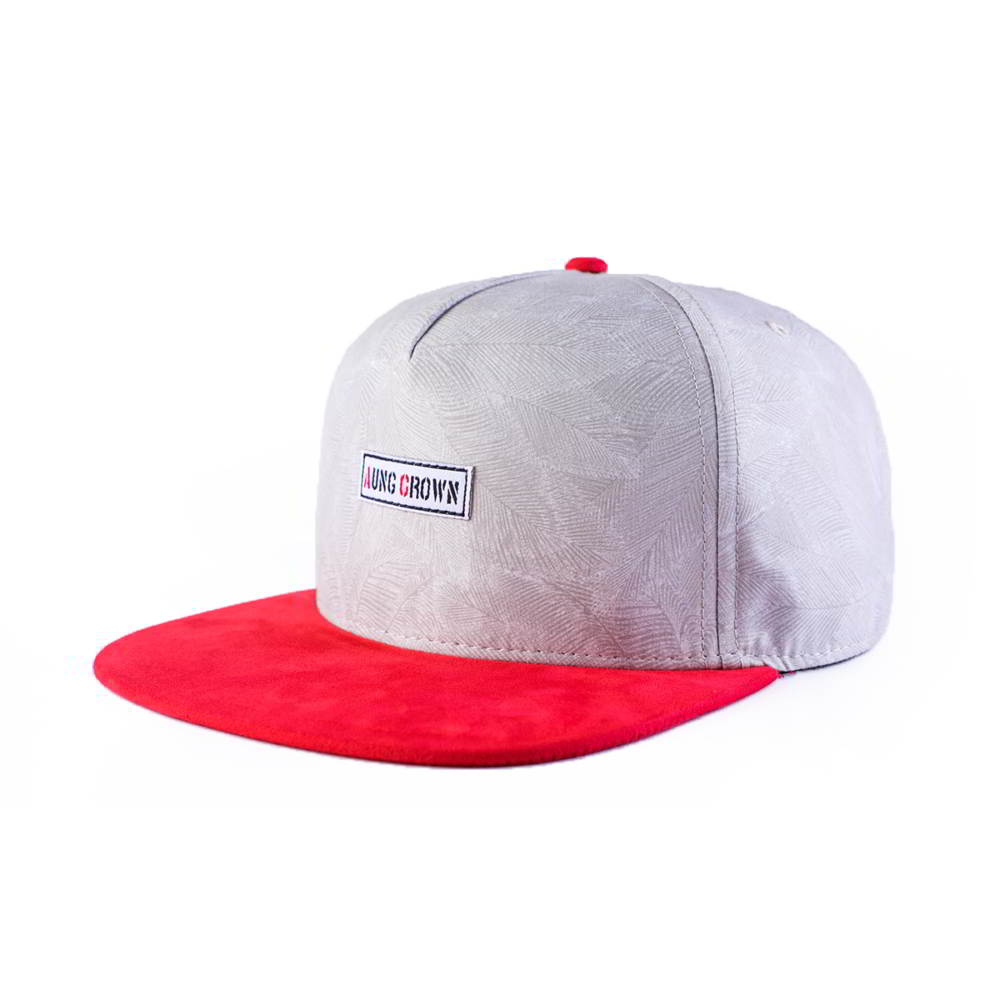 red suede brim 5 panels aungcrown patch snapback hats