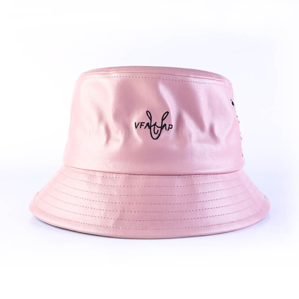 vfa embroidery logo leather bucket hats