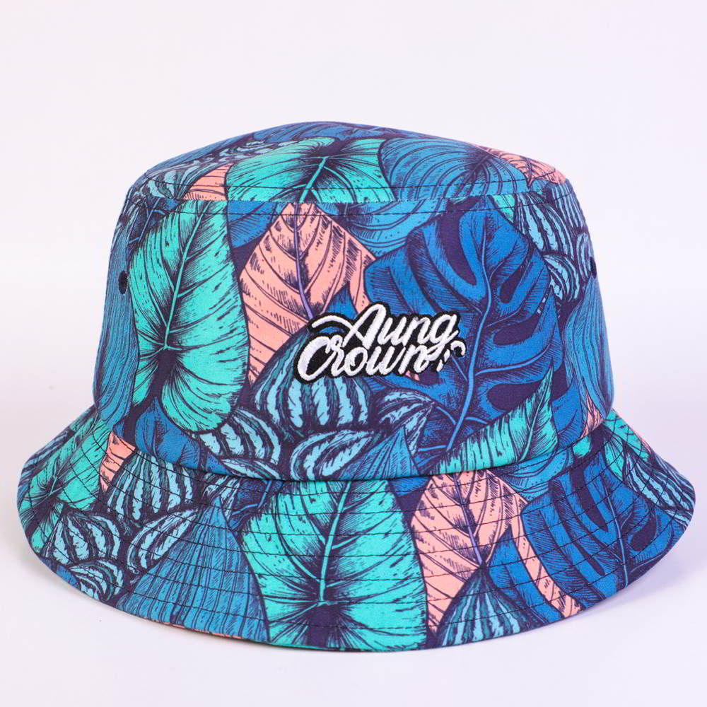 aungcrown embroidery logo all printed bucket hats