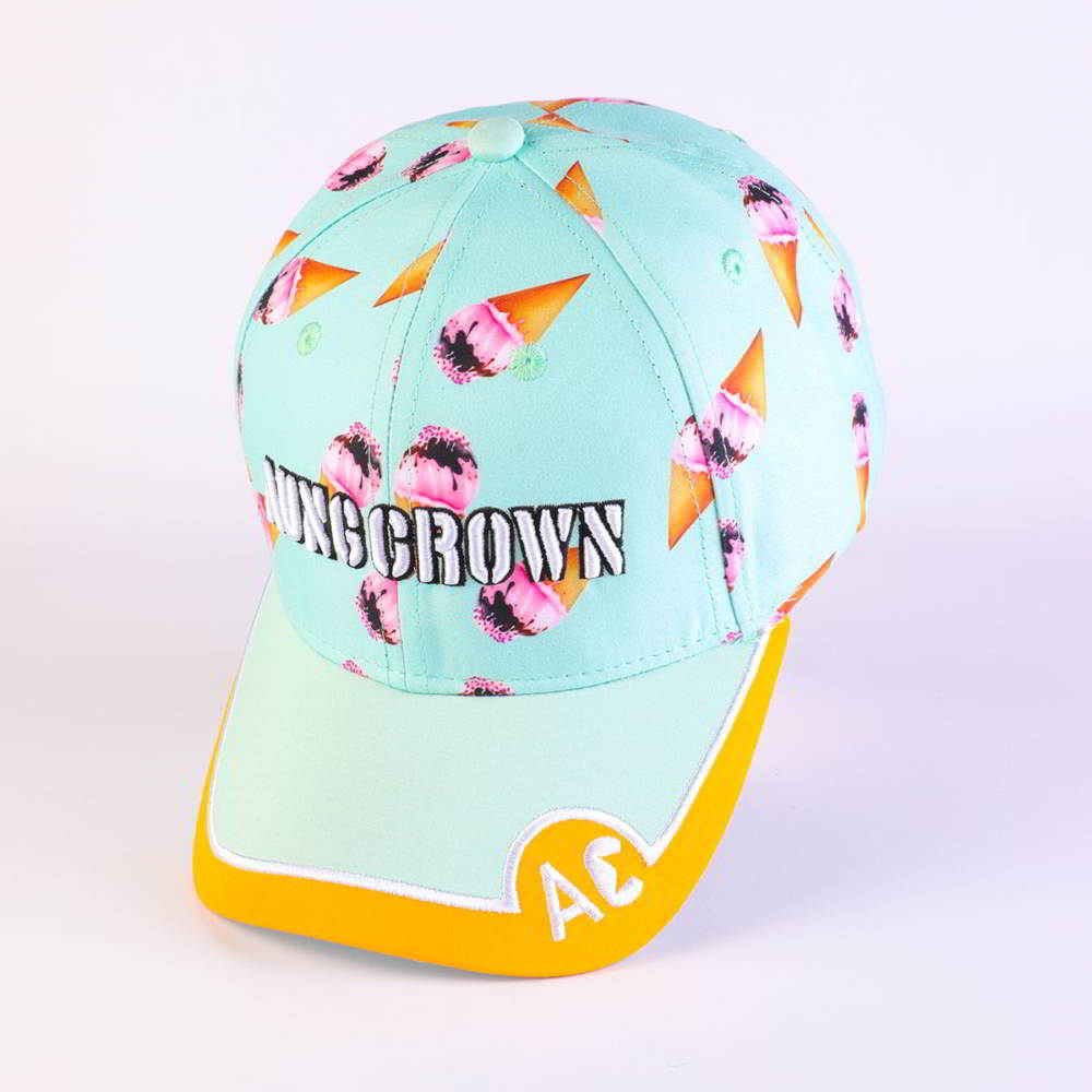 aungcrown embroidery logo printed fabric baseball hats