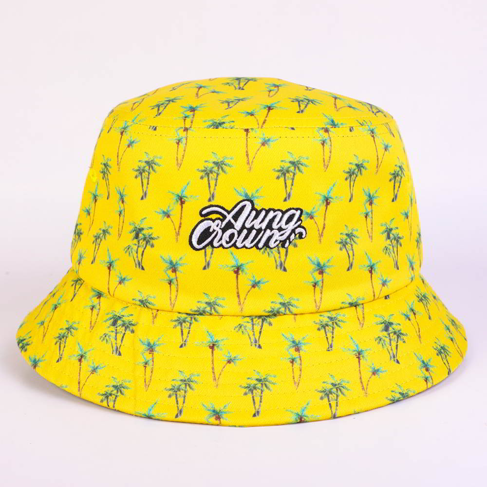 aungcrown logo printed yellow bucket hats
