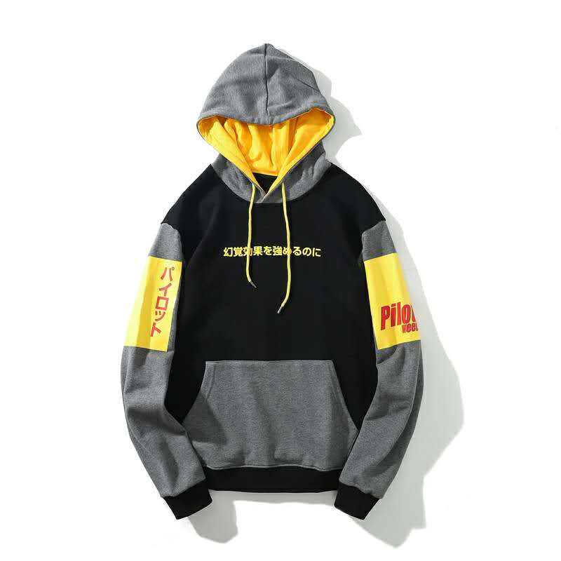 Fashionable trend contrast color long sleeve hoodies causal style for man