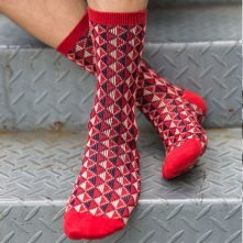 Argyle tiled pattern colorful men's crew socks-2