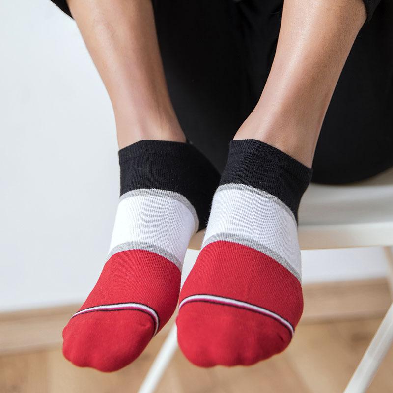 Black men's low cut Casual athletic sport socks-2