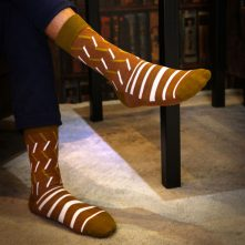 Brown simple striped cotton crew socks for men-1