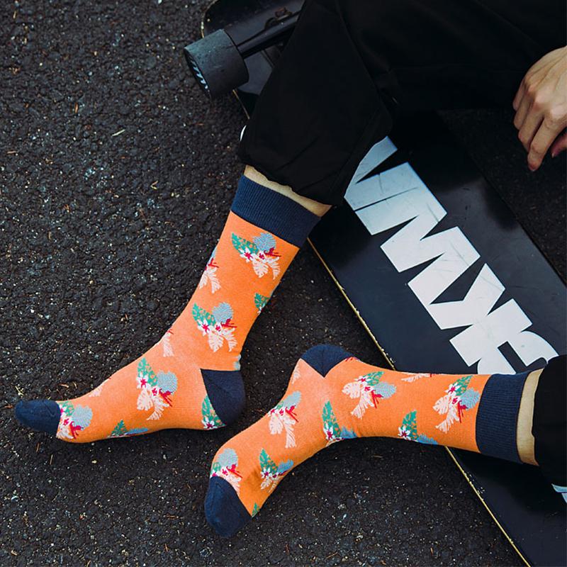 Fashion Orange plant pattern street crew sport socks for men-1