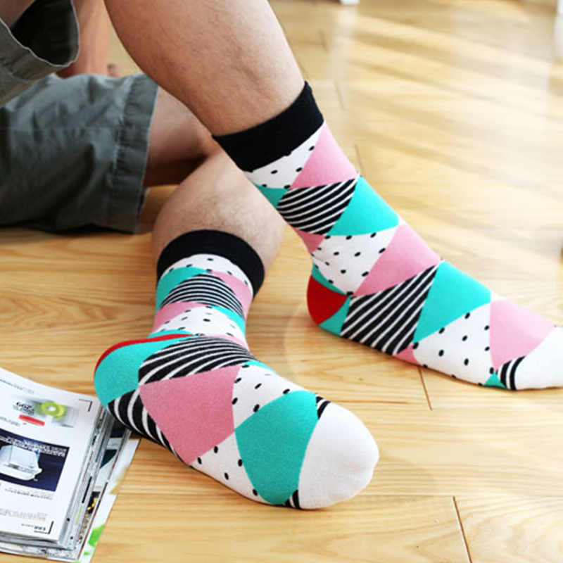 Fresh argyle mixing casual men's crew socks-1