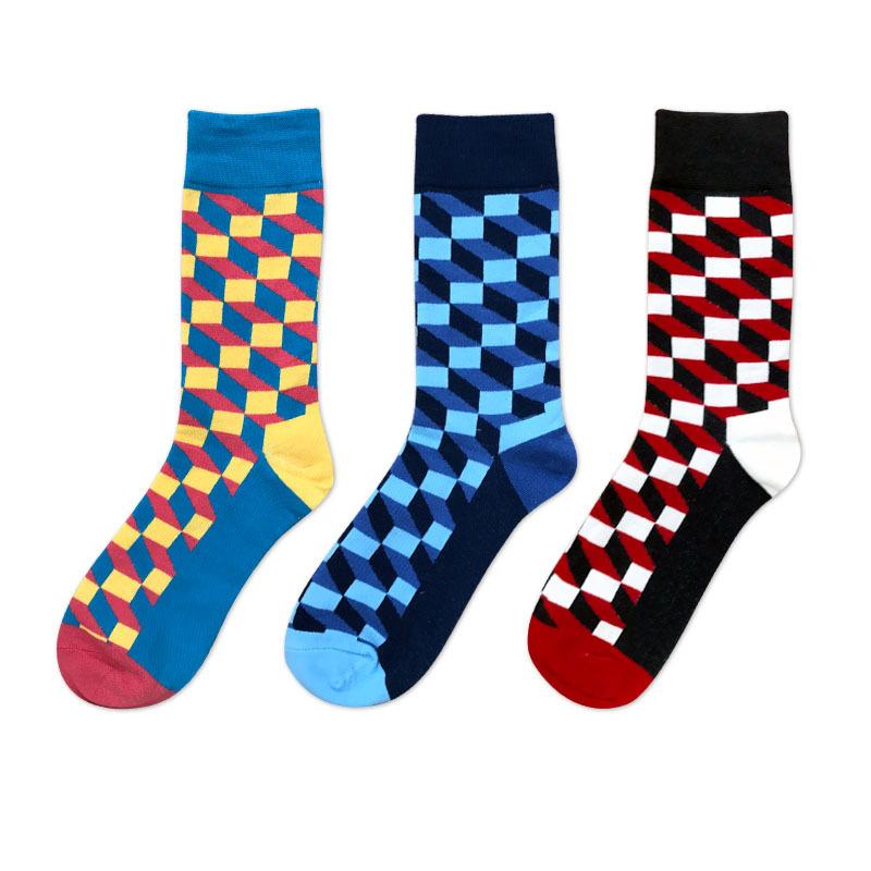 Man's fashion contrast colorful cube pattern socks