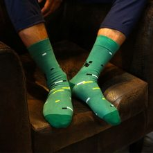 Men's green textured cotton crew socks-1