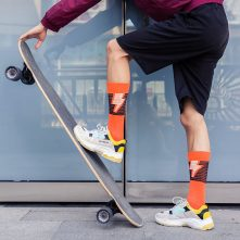 Orange funky causal men's cotton socks comfortable-2