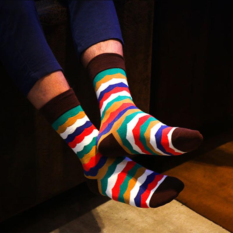 irregular patterned rainbow color socks for men-2