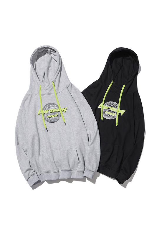 Fluorescent green contrast color printed logo hoodies-1