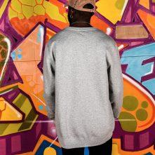 Gray basic style brand logo cotton long sleeve shirt-1