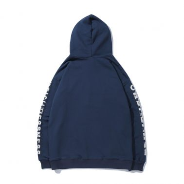 Men's blue patterned long sleeve with graphics hoodies-1