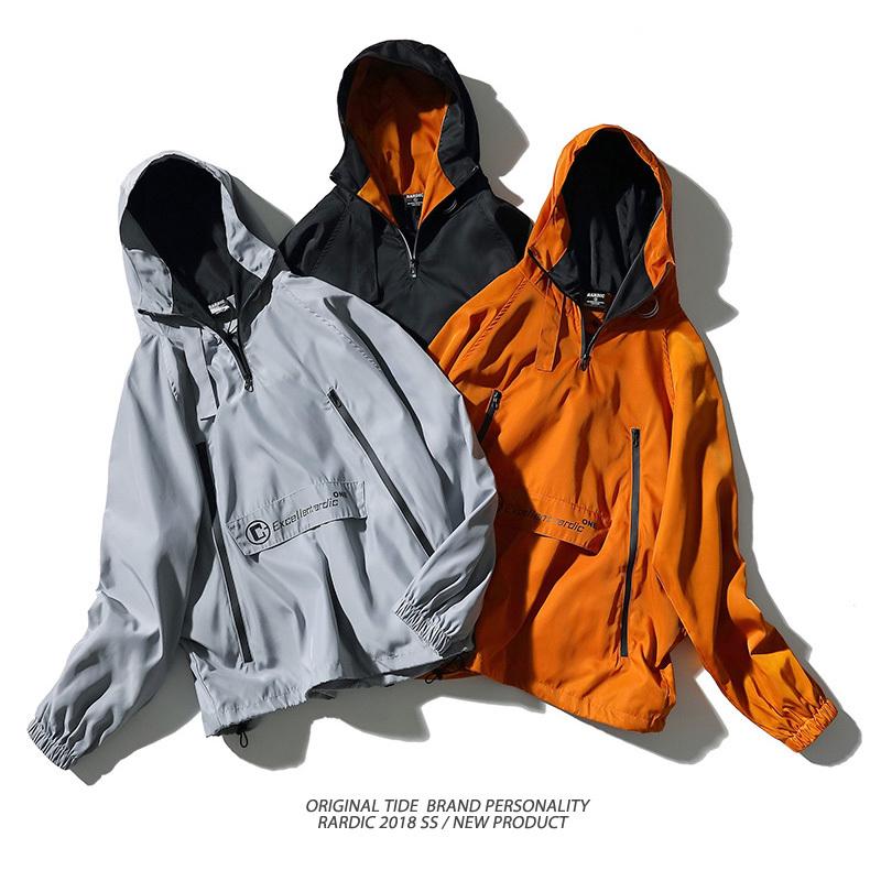 Men's orange color lightweight windbreaker jacket style hoodies-1