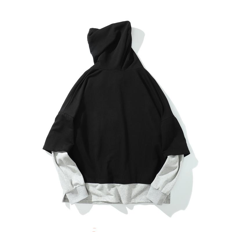 Plain Gray-black simple False Two-Piece Hoodie-2