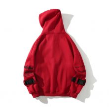 Red color hoodies for men and women with knit neckline-1