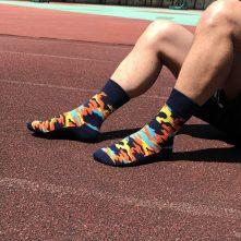 Warm camo patterned crew socks for men-1