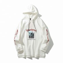 White embroidery cotton soft hoodies for men-1