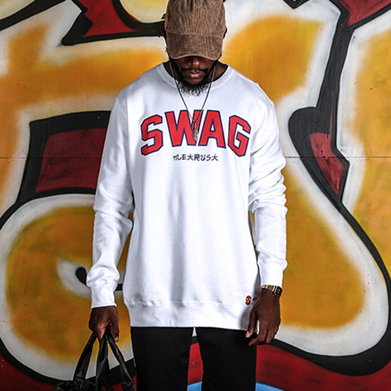 White printed swag logo on the front long sleeve sweatshirt-1