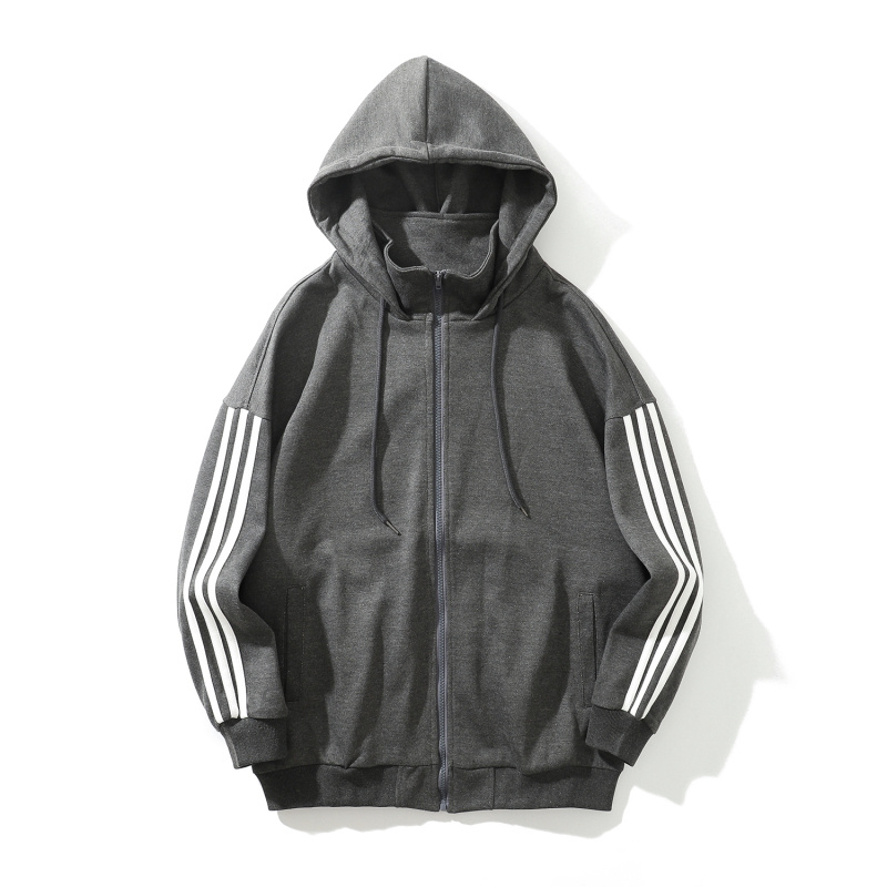 men's athletic style gray long sleeve hoodies-1