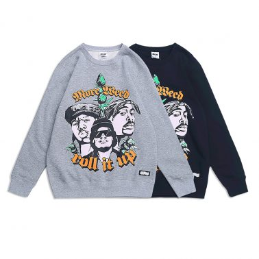 """Cool """"roll it up"""" characters printed pullover sweatshirt for men-1"""