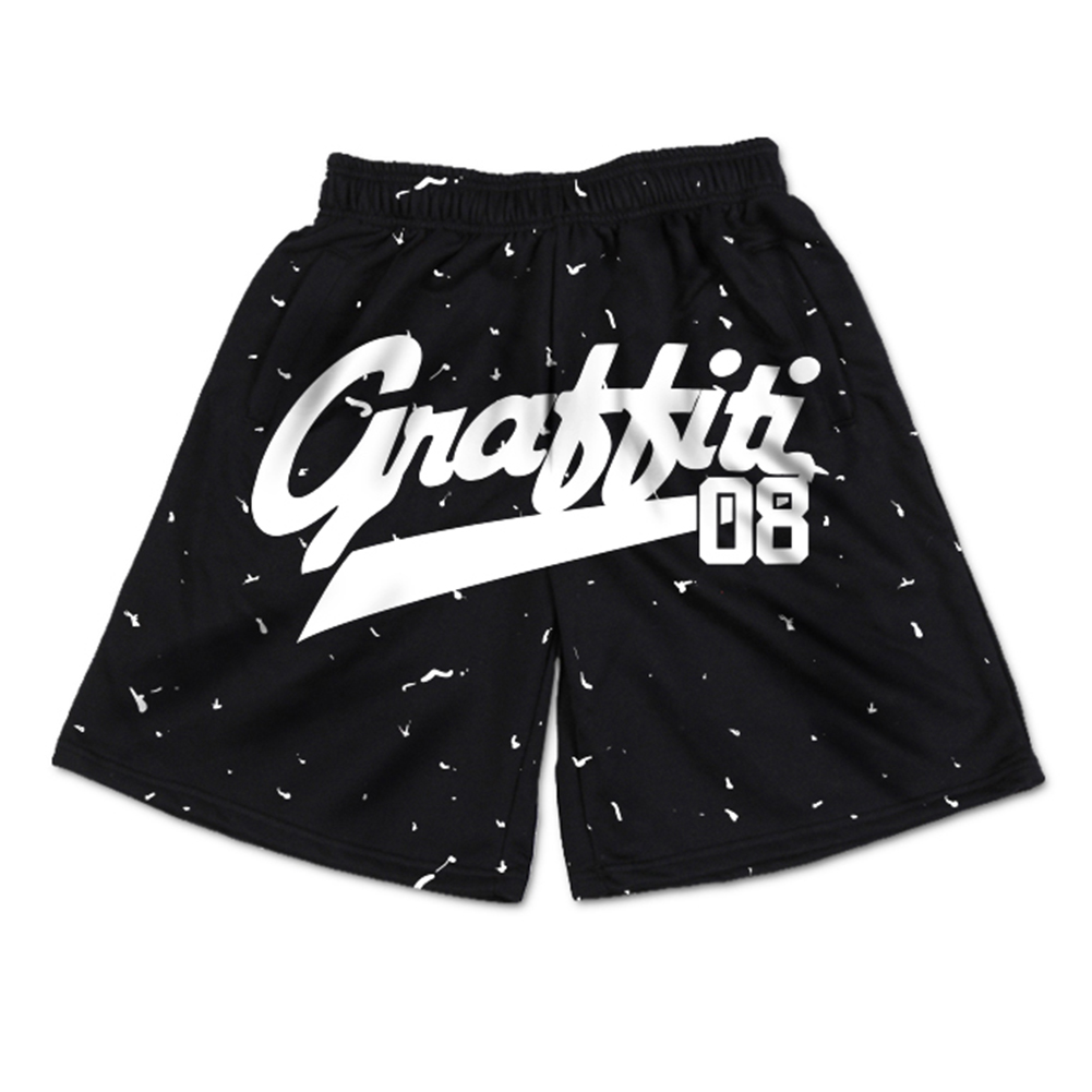 men's casual ink print brand athletic gym shorts