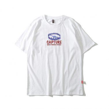 Aung Crown designed men's shark silk print cotton t shirt-1