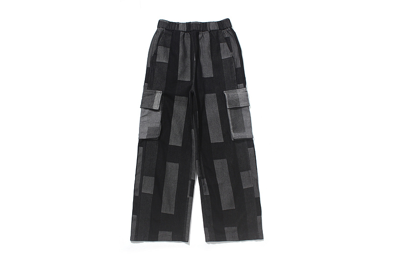 men's wide leg loose checked elastic ankle pants-1