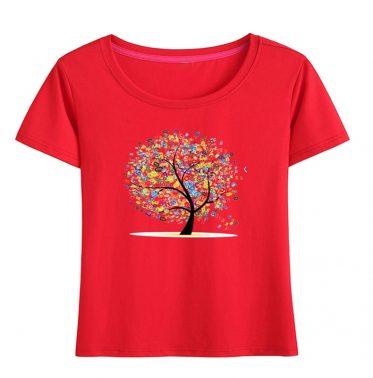 Digital tree graphic print crewneck women's t shirt