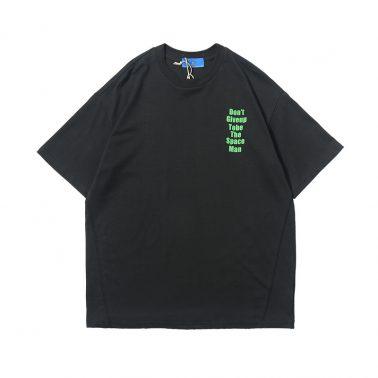 Men's letter earth graphic print short sleeve t shirt