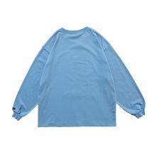 Blue women casual oversized long sleeve sweatshirt-2