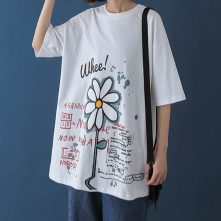 Women's graphic printed loose crewneck oversized t shirt-2