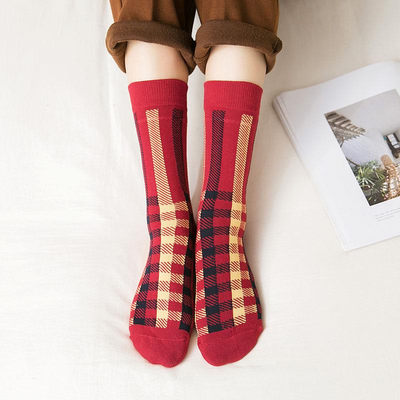 women's and ladies checked design crew socks-2