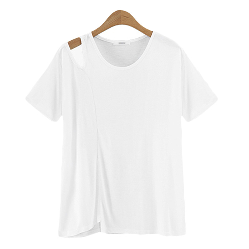 women's casual round neck sexy cold shoulder t shirt-2
