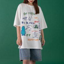women's novelty graphic printed oversized streetwear half sleeve t shirt-4