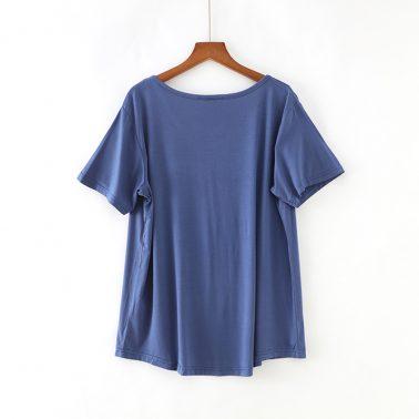 women's plain loose curved hem t shirt with pocket-3