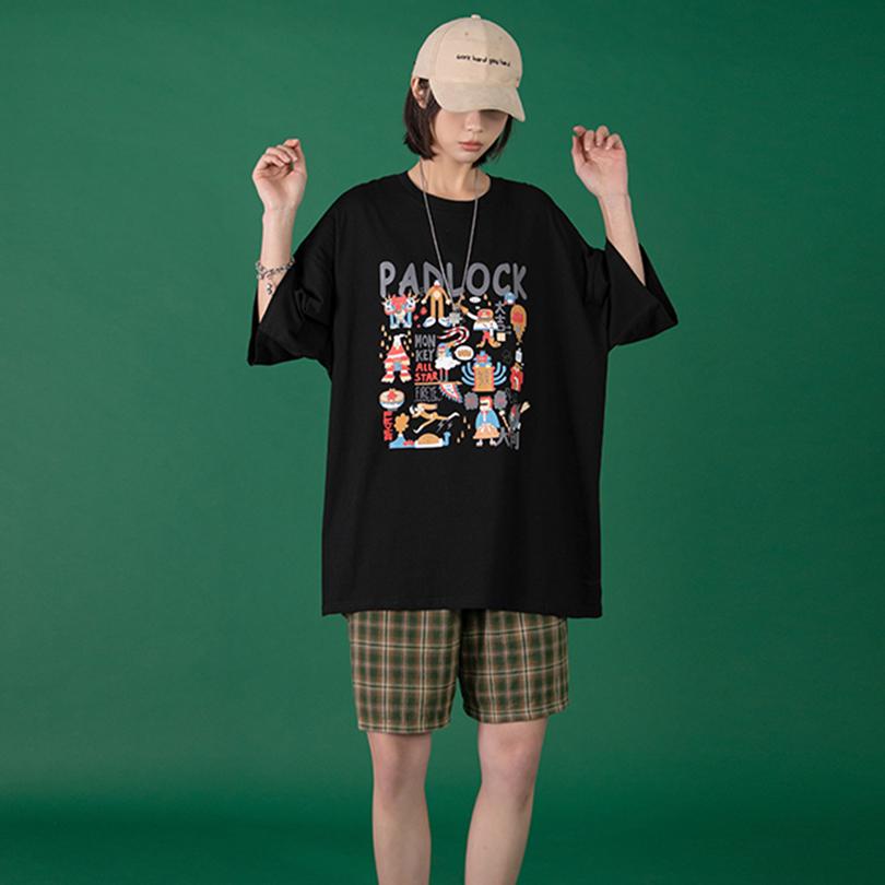 women's street wear loose oversized graphic t shirt-2