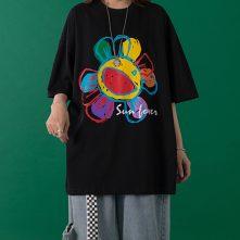 women's sun flower graphic printed oversized t shirt-2